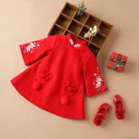 女童旗袍冬过年喜庆拜年服儿童洋气秋冬装新年装中国风女宝宝唐装