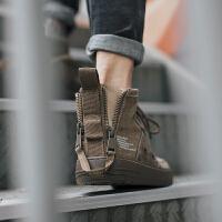 保暖加绒板鞋男韩版潮流帆布男鞋秋季潮鞋子嘻哈高帮鞋男棉鞋