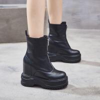 女鞋2018新款短靴女潮厚底�R丁靴百搭�仍龈哐プ�12cm超高跟坡跟秋