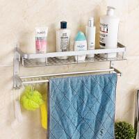 双庆卫生间置物架双层太空铝浴室置物架毛巾架卫浴用品收纳免打孔 太空铝 不生锈 不褪色