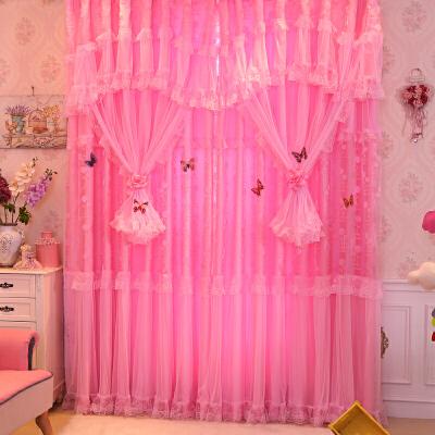 韩式成品蕾丝窗帘田园粉紫色清新公主风婚房喜庆卧室客厅促销   【精品蕾丝窗帘】人气推荐 (1) 经典时尚的款式,让家充满温馨与浪漫 (2)采用