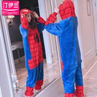 睡衣女连体卡通套装家居服长袖加厚法兰绒珊瑚绒可爱蜘蛛侠