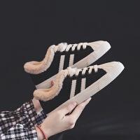 加绒帆布鞋女秋冬季2018新款百搭韩版原宿ulzzang板鞋学生二棉鞋