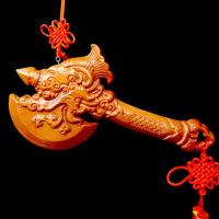 家居饰品木雕挂件桃木斧子斧头挂件独占鳌头斧头摆件