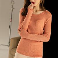 羊绒针织衫女2018秋冬季新款 长袖圆领纯羊绒衫打底衫套头毛衣女