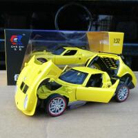 1:32兰博基尼缪拉合金汽车模型老式跑车回力声光开门玩具车金属车 黄色 兰博基尼缪拉