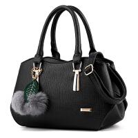 包包女时尚手提包中年女包妈妈包简约韩版单肩斜挎包 黑色(收藏送卡包)