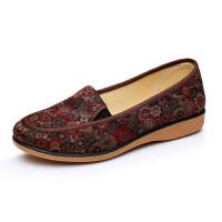 布鞋女平跟网鞋防滑软底中老年人妈妈鞋秋单鞋舒适大码女鞋