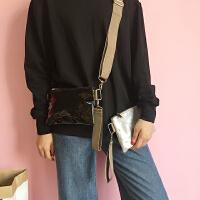韩国新款复古简约单肩女包纯色百搭亮皮宽肩带手提斜挎包包手机包