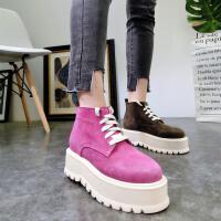 韩版冬新款磨砂皮真皮系带厚底松糕坡跟加绒及踝靴短靴马丁靴女鞋