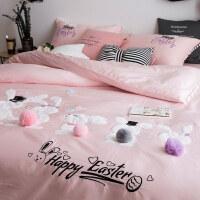 全棉长绒棉四件套卡通80支公主粉色刺绣兔子宝宝绒球1.8m床上用品