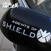 20180823155458475涂腾之翼 汽车反光贴 神盾局 复仇者联盟 个性后视镜贴 G180 黑色 15cm