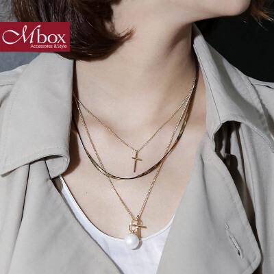 新年礼物Mbox项链 女韩国版采用波西米亚风时尚多层锁骨项链颈链 心诚所至日韩潮流 时尚精致 送精美包装