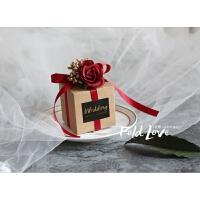 红色喜糖盒 欧式 玫瑰花喜糖盒透明森系婚礼用品伴手礼