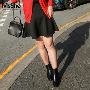 MsShe加肥加大码女装2017新款秋装藏肉修身小A半身裙M1630018