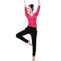 拉丁舞服装 学生女形体练功服套装拉丁演出运动舞蹈服秋冬瑜伽服两件套 玫红 XL