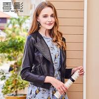 皮衣女短款 香影2018春装新款时尚显瘦小外套气质修身机车pu夹克+