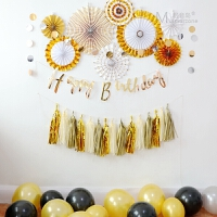 家居生活用品ins 生日派对套装 男女宝宝生日布置装扮气球 纸扇流苏 黑金