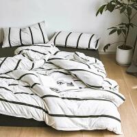 天竺棉四件套全棉裸睡超柔被套被单床单床笠式床上三件套