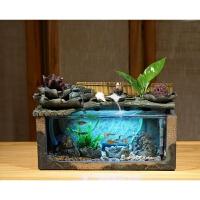 家居创意小型迷你假山流水喷泉摆件加湿客厅办公室装饰小鱼缸景观 0153 鱼缸荷塘月色小