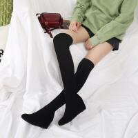 秋冬弹力过膝靴女黑色内增高坡跟长筒显瘦瘦高筒毛线袜子靴hgl 黑色 长款