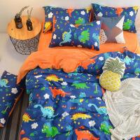 新品秒杀床上四件套小恐龙加厚棉加绒儿童卡通三件套保暖珊瑚绒被套冬