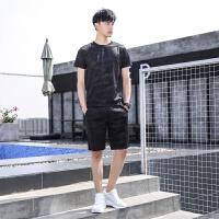 夏天短袖t恤套装男士套装迷彩运动休闲五分裤韩版潮流体��上衣两件套