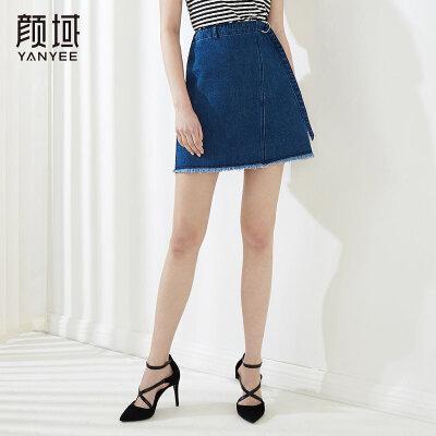 颜域女装新品不规则A字高腰牛仔裤短款流苏半身裙2018夏装新款女