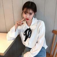 木耳边翻领衬衫女春季新款韩版学院风宽松显瘦喇叭袖上衣衬衣学生