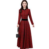 时尚气质2018春季新款韩版长款印花格子收腰显瘦长袖连衣裙打底裙