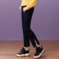 【2件2.5折到手价:43.75】美特斯邦威牛仔裤女年秋装新款韩版显瘦裤子时尚学生喇叭裤
