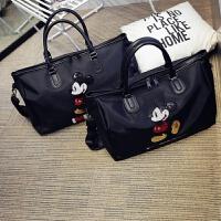 新款亮片米奇短途耐磨旅行包手提大容量健身包防水行李袋健身包 黑色