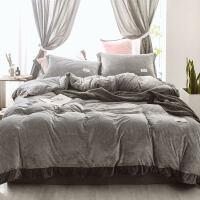 冬季法莱绒四件套加厚1.8m床单被罩水晶绒保暖被套双面珊瑚绒纯色 浅灰色 可可灰