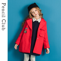 【3件价:123元】铅笔俱乐部童装2019冬季新款女童呢子大衣中大童呢子外套儿童外套