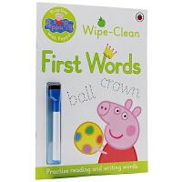 粉红猪小妹学单词 英文原版书 Peppa Pig Wipe-Clean First Word 可擦写英文练习册 小猪佩