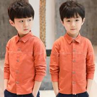 男童衬衫春季装新款儿童中大童长袖衬衣翻领纯色男孩春秋上衣