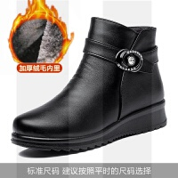 ����鞋棉鞋冬季加�q加厚保暖中年女鞋老人�底防滑皮鞋中老年短靴SN0954