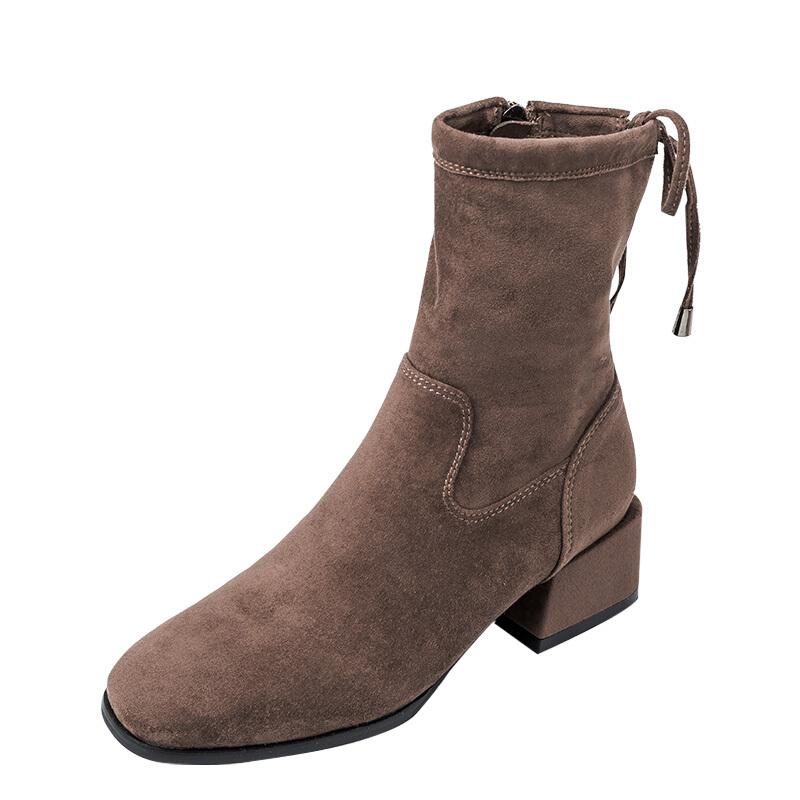 2018秋冬新款瘦瘦靴短靴女粗跟中跟欧美女靴圆头侧拉链骑士靴