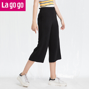 Lagogo/拉谷谷2018年春季新款时尚口袋休闲阔腿裤