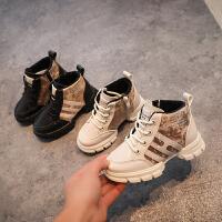 儿童马丁靴中小童休闲靴子加绒女童短靴秋冬新款防滑男童皮靴