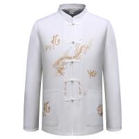 秋季中老年男士唐装中式汉服男装长袖衬衫父民族衣服中国风上衣