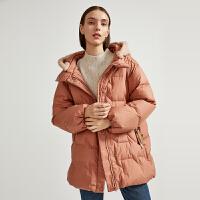 【3折参考价:540】商场同款迪赛尼斯2020冬季新款加厚白鸭绒时尚连帽纯色羽绒服女士
