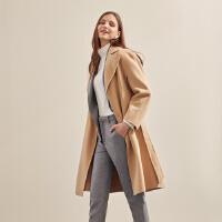 【1件2折到手价:293.2】羊毛混纺MECITY冬季气质赫本风双面呢毛呢大衣女中长款