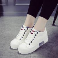 内增高小白鞋女2018新款春季百搭韩版厚底白色帆布鞋休闲板鞋子女