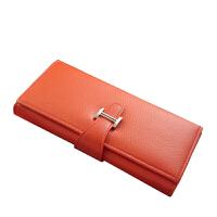 手包男女 简约搭扣多功能 长款钱包 多卡位大容量 个性手拿包百搭 红色 H扣女手包