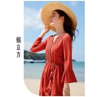 红色连衣裙女中长款2019春季新款棉立方文艺收腰显瘦气质v领裙子