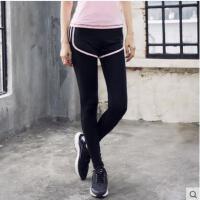 新品透气假两件运动裤长裤女韩版撞色健身裤y紧身瑜伽裤薄款