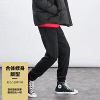 森马潮牌GLEMALL 青年男士宽松休闲裤 拼缝线复古感 纯色百搭运动裤