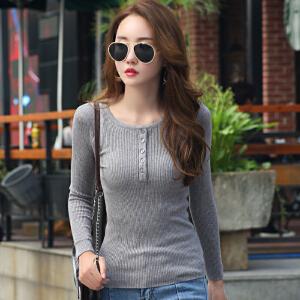 秋季新款长袖套头毛衣女韩版修身显瘦扣子薄款针织打底毛线衣