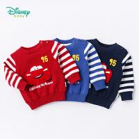 迪士尼Disney童装 男童毛衣秋冬新品卡通麦昆长袖针织衫宝宝拼接休闲纯棉上衣183S1038
